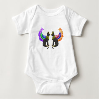 egyptian dog with wings baby bodysuit