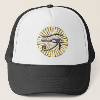 Egyptian Eye of Horus Gold and Black Trucker Hat