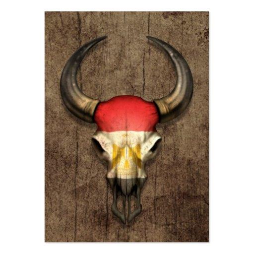 Egyptian Flag Bull Skull on Wood Effect Business Card Template