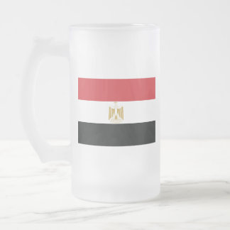 EGYPTIAN FLAG FROSTED GLASS BEER MUG