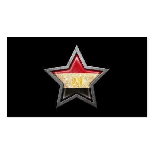 Egyptian Flag Star on Black Business Card