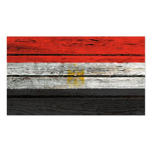 Egyptian Flag with Rough Wood Grain Effect Business Card Templates