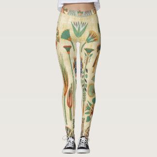 Egyptian Floral Art Papyrus Print Leggings