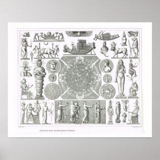 Egyptian gods and religious symbols poster