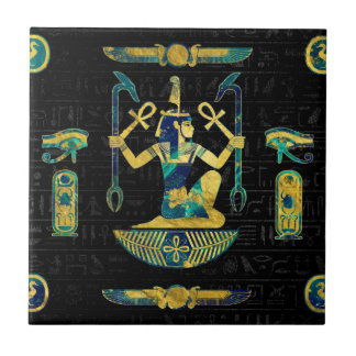 Egyptian  Gold and Blue Marble Ornament Tile