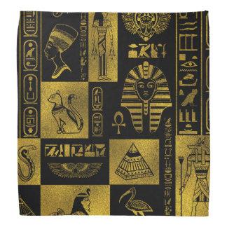 Egyptian  Gold hieroglyphs and symbols collage Bandana