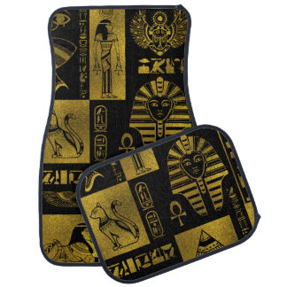 Egyptian  Gold hieroglyphs and symbols collage Car Mat
