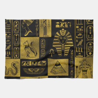 Egyptian  Gold hieroglyphs and symbols collage Kitchen Towel