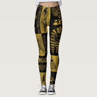Egyptian  Gold hieroglyphs and symbols collage Leggings