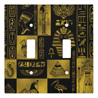 Egyptian  Gold hieroglyphs and symbols collage Light Switch Cover