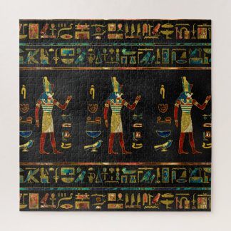 Egyptian  Gold, Teal and Red  glass pattern Jigsaw Puzzle