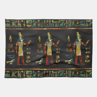 Egyptian  Gold, Teal and Red  glass pattern Kitchen Towel