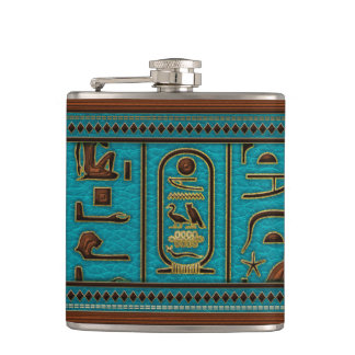 Egyptian Golden Leather hieroglyphs  on teal Hip Flask