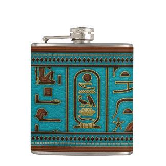 Egyptian Golden Leather hieroglyphs  on teal Hip Flask