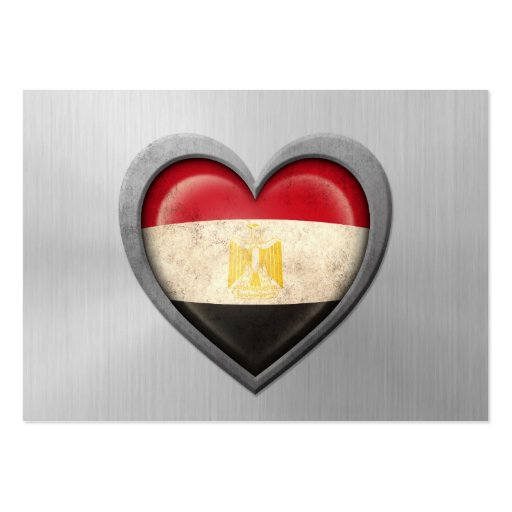 Egyptian Heart Flag Stainless Steel Effect Business Cards