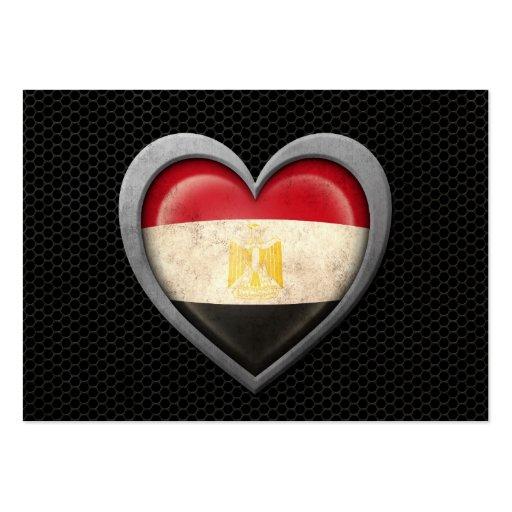 Egyptian Heart Flag Steel Mesh Effect Business Cards
