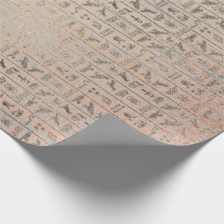 Egyptian Heroglyphs Silver Foxier Blush Rose Wood Wrapping Paper