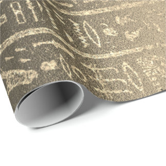 Egyptian Hieroglyphs Gold Faux Sepia Unique Luxury Wrapping Paper