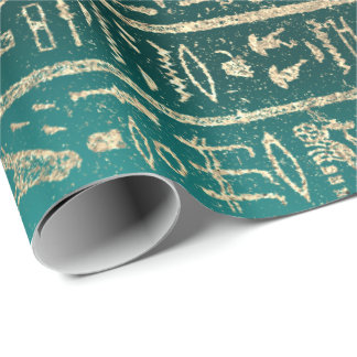 Egyptian Hieroglyphs Gold Foxier Blush Teal Green Wrapping Paper