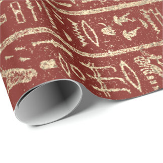 Egyptian Hieroglyphs Gold Foxier Bordeaux Luxury Wrapping Paper