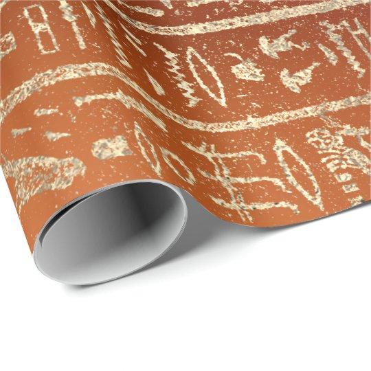 Egyptian Hieroglyphs Gold Foxier Coral Orange