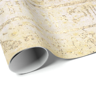 Egyptian Hieroglyphs Gold Foxier Grungy Creamy Wrapping Paper