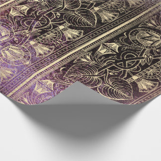 Egyptian Hieroglyphs Gold Foxier Grungy Purple VIP Wrapping Paper