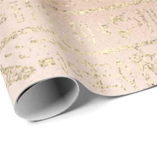 Egyptian Hieroglyphs Gold Foxier Rose Gold Blush Wrapping Paper