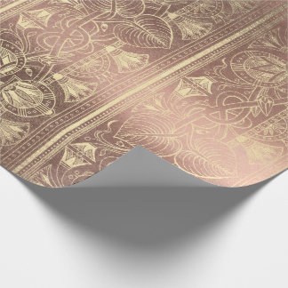 Egyptian Hieroglyphs Gold Foxier Rose Gold Metalli Wrapping Paper