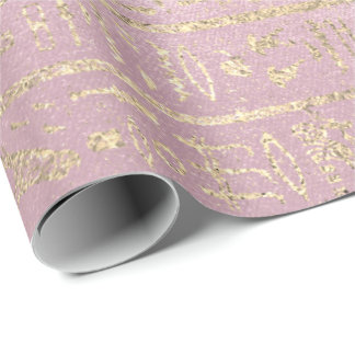 Egyptian Hieroglyphs Gold Foxier Rose Pink Pastel Wrapping Paper