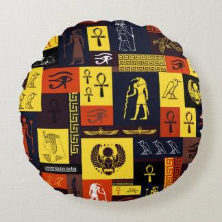 Egyptian Montage Round Pillow