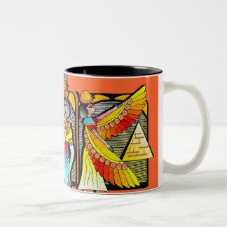 EGYPTIAN MOTIF COFFEE MUG /PEACH