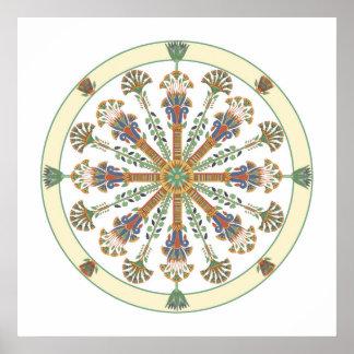 Egyptian Nouveau Lotus Mandala Poster