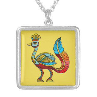 Egyptian Peacock Silver Plated Necklace