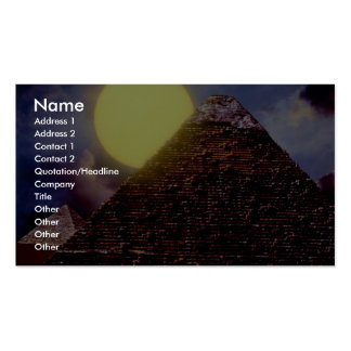 Egyptian pyramid with sun in background business card