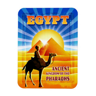 Egyptian Pyramids and Camel Travel Illustration Rectangular Photo Magnet