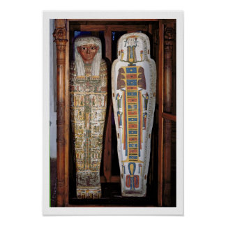 Egyptian sarcophagus covered with hieroglyphics (p poster