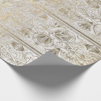 Egyptian Script Pearly Gold Foxier Floral Royal Wrapping Paper
