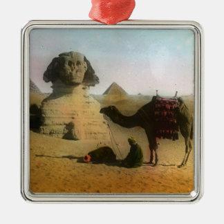 Egyptian Silver-Colored Square Ornament