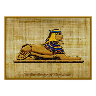 Egyptian Sphinx on Papyrus Art Poster