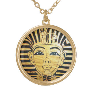 Egyptian Style Round Gold Finish Necklace