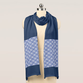 Egyptian Tile Pattern, Cobalt Blue and White Scarf