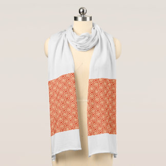 Egyptian Tile Pattern, Coral Orange Scarf