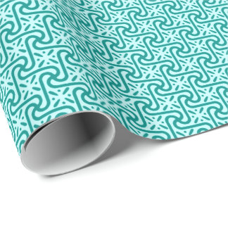 Egyptian tile pattern, turquoise and aqua wrapping paper