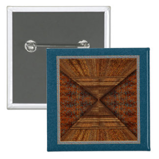Egyptian Topaz Golden Pyramid Abstract Art 2 Inch Square Button