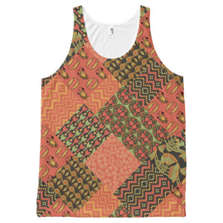 Egyptian Tribal Faux Patchwork Unisex Tank Top
