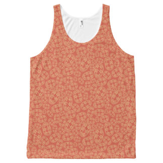Egyptian Tribal Shields on Rusty Red Tank Top
