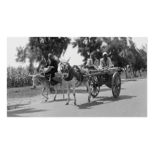 Egyptians with Carts and Donkeys circa 1934 Business Card Template