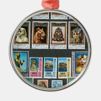 Egyptology on stamps Silver-Colored round ornament