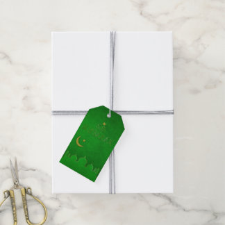 Eid Mubarak Green Gold Mosque - Gift Tag